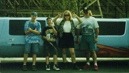 "My brothers and my mom and dad standing in front of the ""Mirthmobile"" at King's Dominion."
